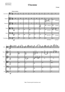Чакона соль мажор: For cello and string orchestra - score and parts by Томазо Витали