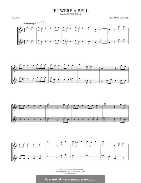 If I Were a Bell: Для двух флейт by Frank Loesser