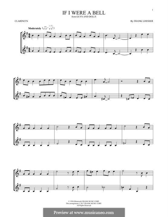 If I Were a Bell: Для двух кларнетов by Frank Loesser