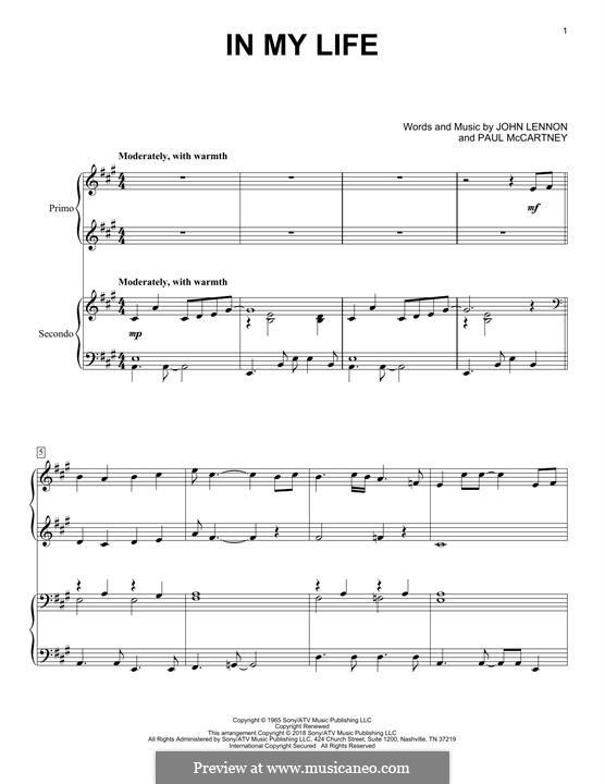In My Life (The Beatles): Для фортепиано в 4 руки by John Lennon, Paul McCartney