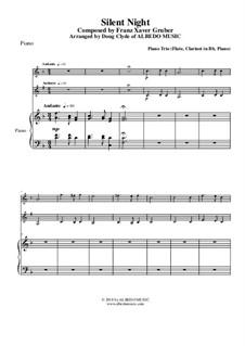Тихая ночь (ноты для скачивания): For flute, clarinet and piano by Франц Ксавьер Грубер