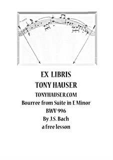 Сюита для лютни (или клавесина) ми минор, BWV 996: Bourrée. Version for guitar – a free performance lesson by Иоганн Себастьян Бах