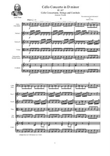 Concerto for Cello and Strings in D Minor, RV 407: Score, parts by Антонио Вивальди