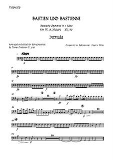 Бастьен и Бастьенна, K.50: Arranged for string quartet accompaniment – cello part by Вольфганг Амадей Моцарт