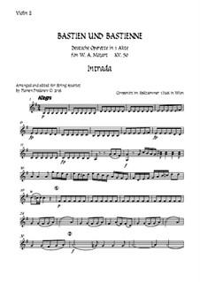 Бастьен и Бастьенна, K.50: Arranged for string quartet accompaniment – violin 2 part by Вольфганг Амадей Моцарт