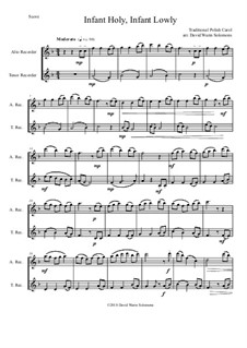 Infant Holy, Infant Lowly: For alto and tenor recorder by folklore