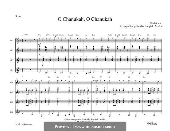 O Chanukah for Guitar Quartet: O Chanukah for Guitar Quartet by folklore