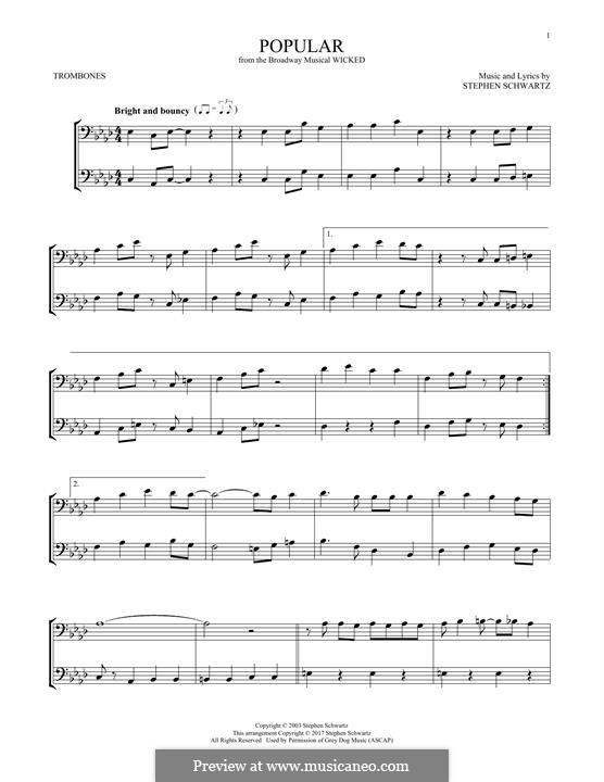 Popular (from Wicked): For two trombones by Stephen Schwartz