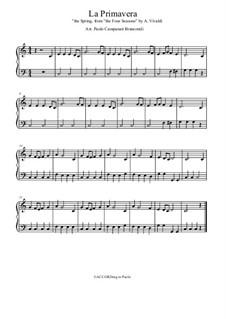 Концерт для скрипки с оркестром No.1 ми мажор 'Весна', RV 269: Movement I, for piano by Антонио Вивальди