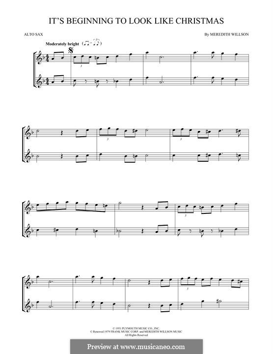 It's Beginning to Look a Lot Like Christmas (Perry Como): For two alto saxophones by Meredith Willson