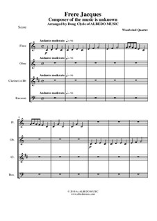 Frere Jacques (Are You Sleeping?): For woodwind quartet by folklore