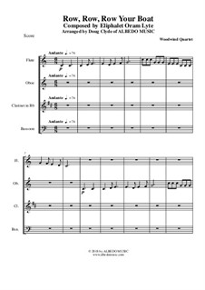 Row, Row, Row Your Boat: For woodwind quartet by folklore