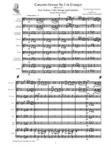 Concerto Grosso No.1 in G Major, HWV 319: Score, parts by Георг Фридрих Гендель