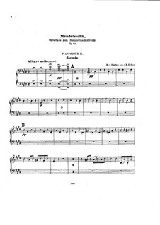 Сон в летнюю ночь, Op.21: Увертюра, для двух фортепиано в четыре руки – партия второго фортепиано by Феликс Мендельсон-Бартольди