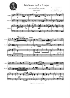 Двенадцать трио-сонат для двух скрипок и бассо континуо, Op.1: Trio Sonata No.3 in D major by Томазо Альбинони