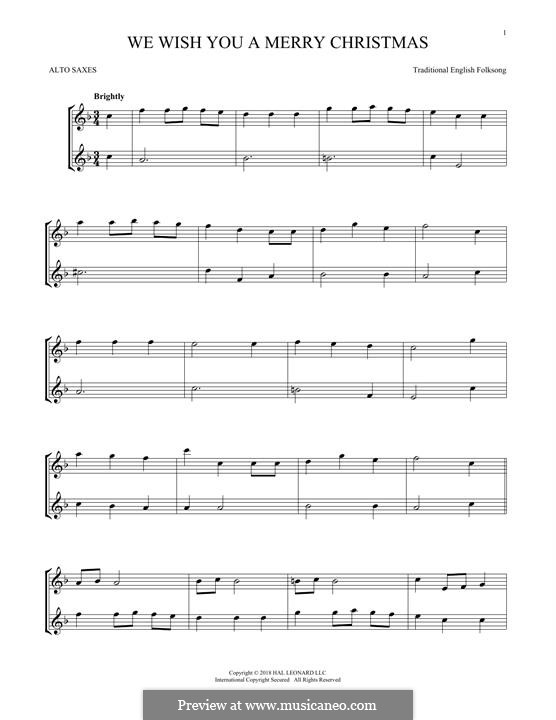 We Wish You a Merry Christmas (Printable Scores): For two alto saxophones by folklore