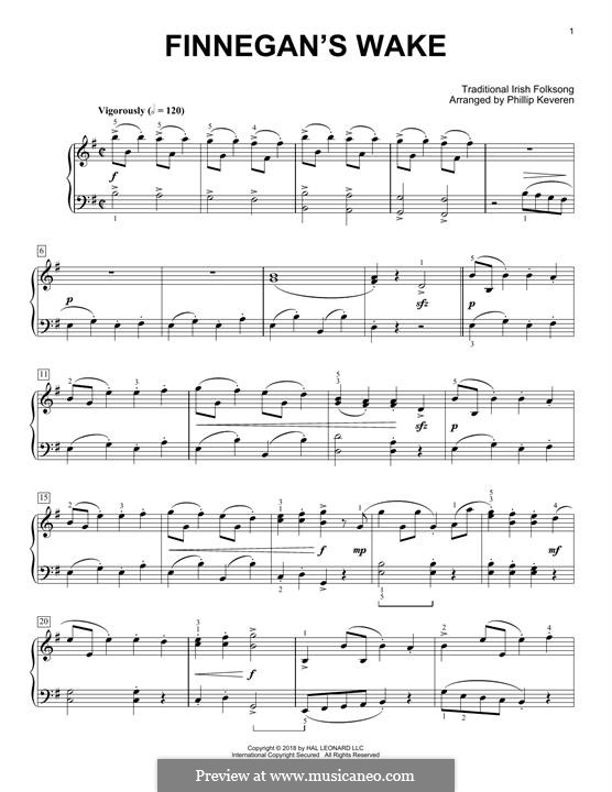Finnegan's Wake: Для фортепиано (легкий уровень) by folklore