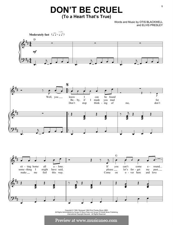 Don't Be Cruel: Для голоса и фортепиано by Elvis Presley, Otis Blackwell