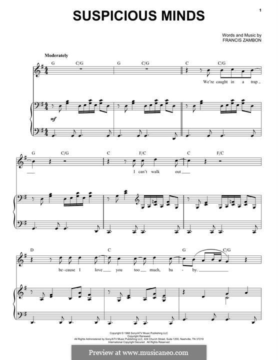 Suspicious Minds (Elvis Presley): Для голоса и фортепиано by Francis Zambon
