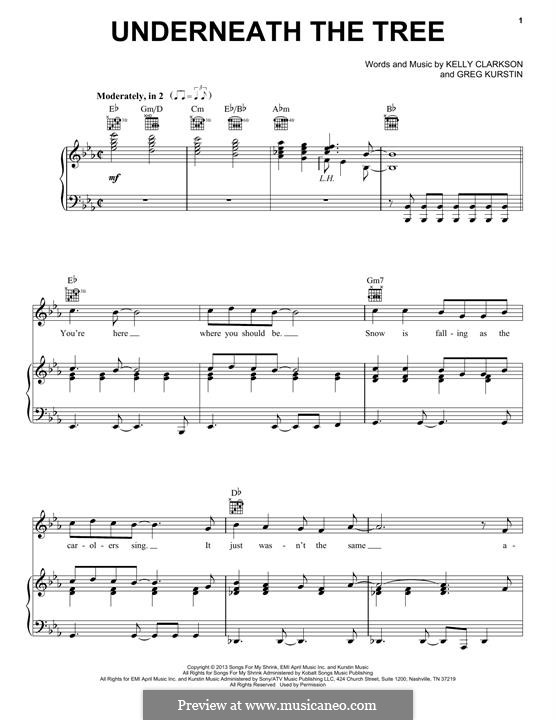 Underneath the Tree: Для голоса и фортепиано (или гитары) by Greg Kurstin, Kelly Clarkson