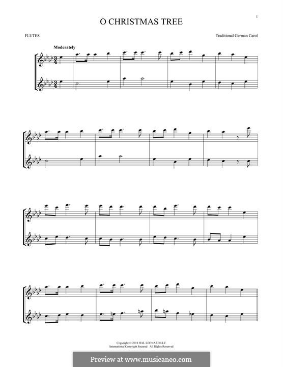 O Christmas Tree, (Printable Scores): Для двух флейт by folklore