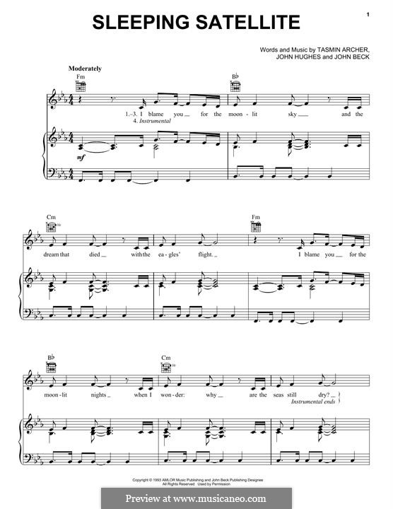 Sleeping Satellite: Для голоса и фортепиано (или гитары) by John Hughes, John Beck, Tasmin Archer