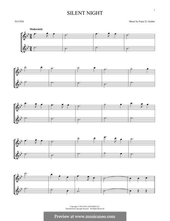Тихая ночь, дивная ночь, для двух инструментов: Для двух флейт by Франц Ксавьер Грубер