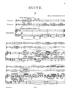Сюита для двух скрипок и фортепиано, Op.71: Партитура by Мориц Мошковский