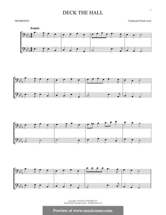 Deck the Hall (Printable): For two trombones by folklore