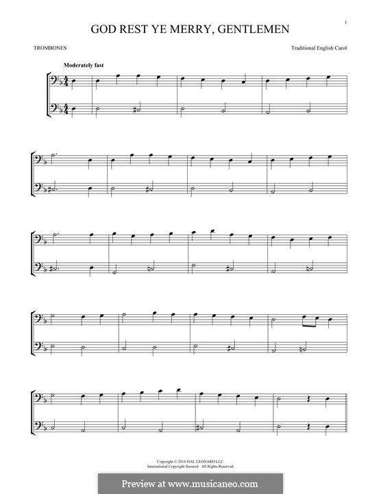 God Rest You Merry, Gentlemen (Printable Scores): For two trombones by folklore