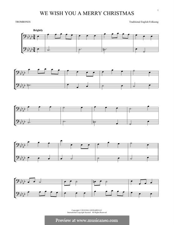 We Wish You a Merry Christmas (Printable Scores): For two trombones by folklore