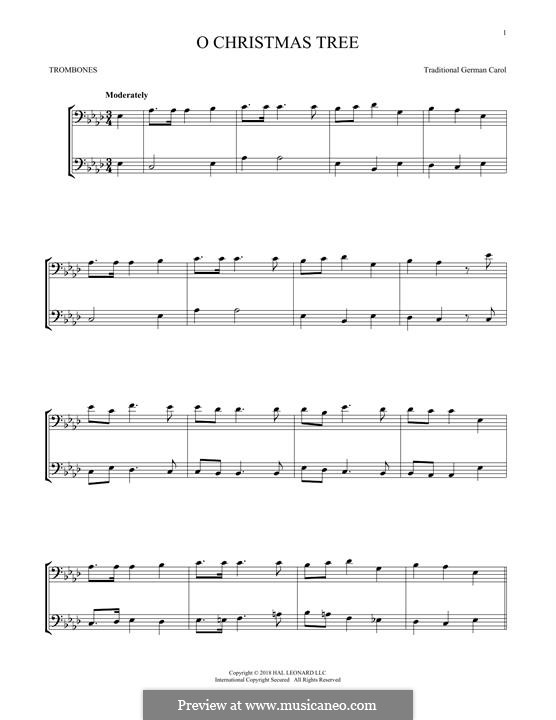 O Christmas Tree, (Printable Scores): For two trombones by folklore