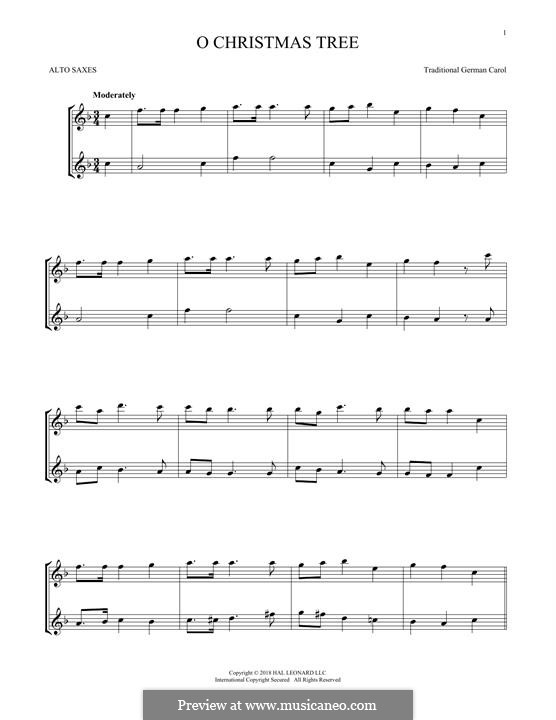 O Christmas Tree, (Printable Scores): For two alto saxophones by folklore