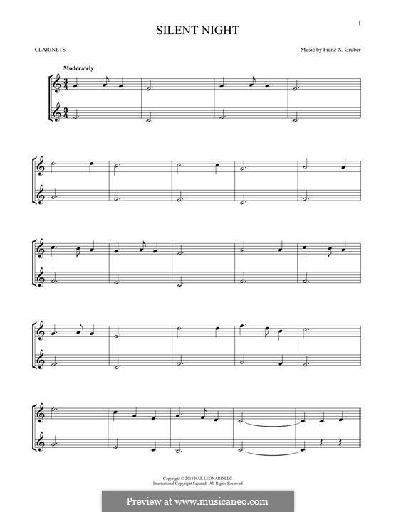 Тихая ночь, дивная ночь, для двух инструментов: Для двух кларнетов by Франц Ксавьер Грубер