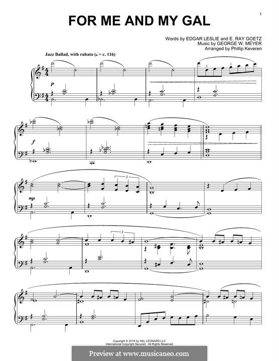 For Me and My Gal: Для фортепиано by George W. Meyer, Edgar Leslie, Edward Ray Goetz