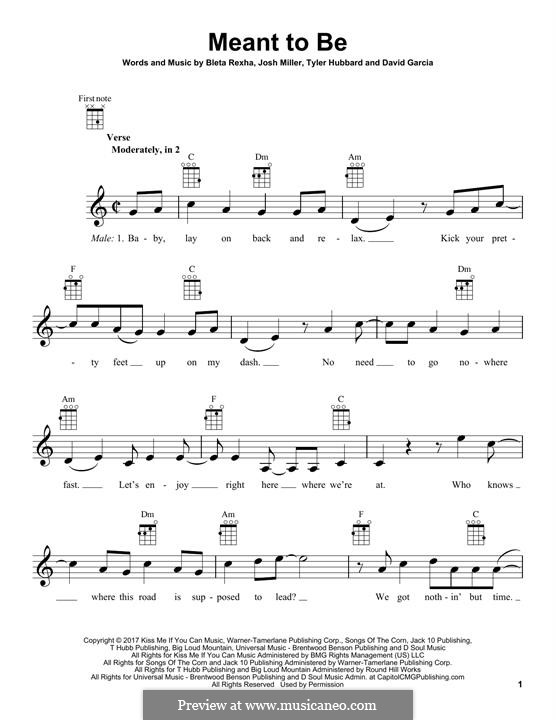 Meant To Be (Bebe Rexha feat. Florida Georgia Line): Для укулеле by Joshua Miller, Tyler Hubbard, Bebe Rexha, David Garcia
