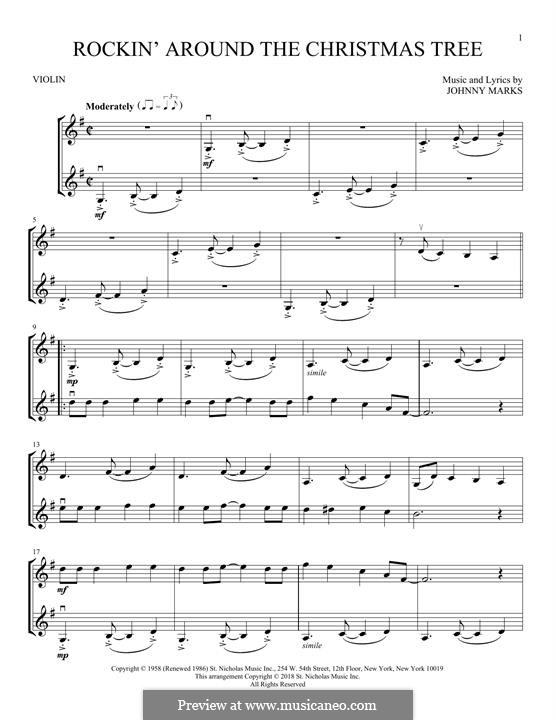 Rockin' Around the Christmas Tree: Для двух скрипок by Johnny Marks