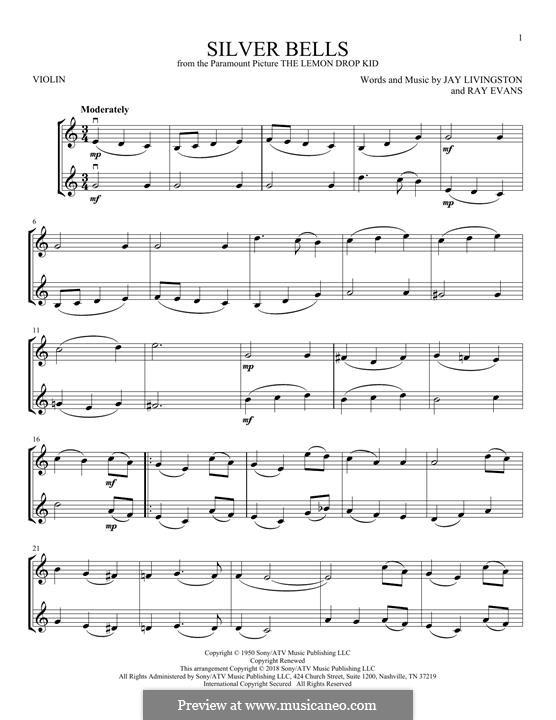 Silver Bells: Для двух скрипок by Jay Livingston, Raymond Evans