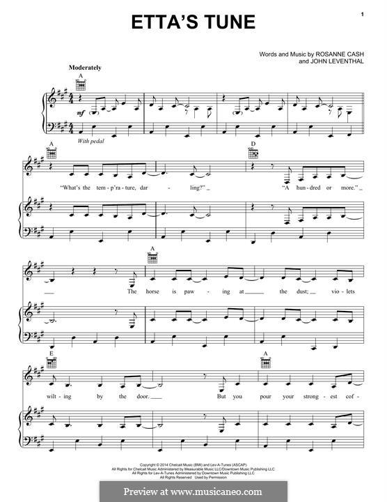 Etta's Tune: Для голоса и фортепиано (или гитары) by John Leventhal, Rosanne Cash