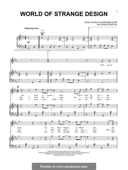 World of Strange Design: Для голоса и фортепиано (или гитары) by John Leventhal, Rosanne Cash