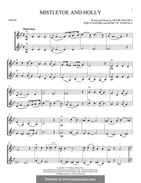 Mistletoe and Holly (Frank Sinatra): Для двух скрипок by Dok Stanford, Henry W. Sanicola
