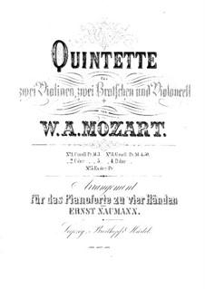 Струнный квинтет No.4 соль минор, K.516: Переложение для фортепиано в четыре руки by Вольфганг Амадей Моцарт