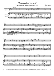 Dona nobis pacem: For soprano saxophone and synthesizer by Иоганн Себастьян Бах