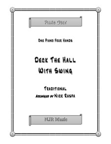 Deck the Hall with Swing: For piano four hands (early intermediate) by folklore