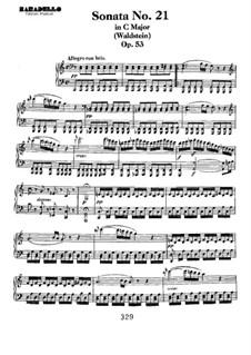 Соната для фортепиано No.21 'Вальдштейновская', Op.53: Для одного исполнителя by Людвиг ван Бетховен