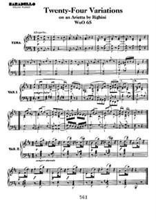Двадцать четыре вариации на тему ариетты 'Venni Amore' В. Риджини, WoO 65: Для фортепиано by Людвиг ван Бетховен