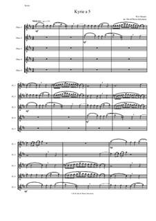 Kyrie canon a 5: For 5 flutes by Вольфганг Амадей Моцарт