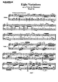 Восемь вариаций на тему из оперы 'Soliman II' Ф. Зюсмайера, WoO 76: Для фортепиано by Людвиг ван Бетховен