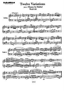 Двенадцать вариаций на тему менуэта из балета 'Le nozze disturbate' Гейбеля, WoO 68: Для фортепиано by Людвиг ван Бетховен