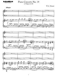 Концерт для фортепиано с оркестром No.19 фа мажор, K.459: Аранжировка для 2 фортепиано в 4 руки by Вольфганг Амадей Моцарт